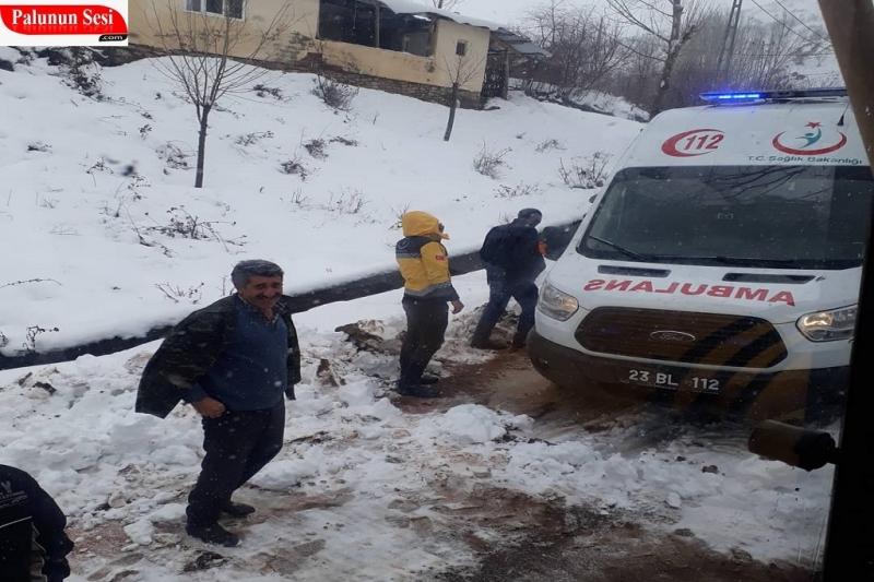Palu`da Doğum Hastası Kar Nedeniyle Yolda Kaldı