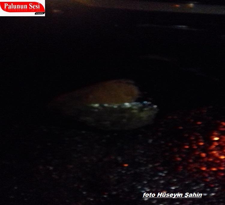 Palu`da Yola Yuvarlanan Kaya Belediye Arabasına Çarpttı