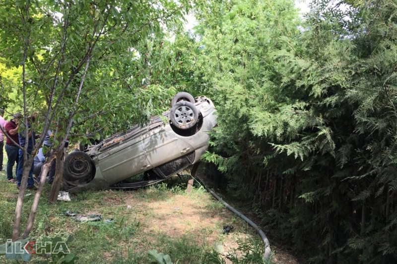 Takla atan otomobil ağaçta asılı kaldı: 1 yaralı